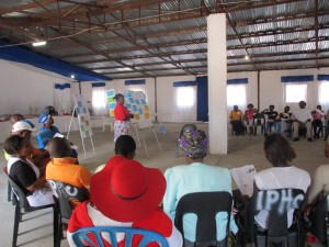 Village participants presenting at a PRA meeting August 2017
